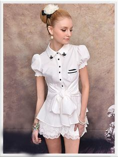 Morpheus Boutique  - White Cap Sleeve Belted Button Down Shirt