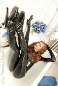 Princess fatale black latex catsuit ballet boots