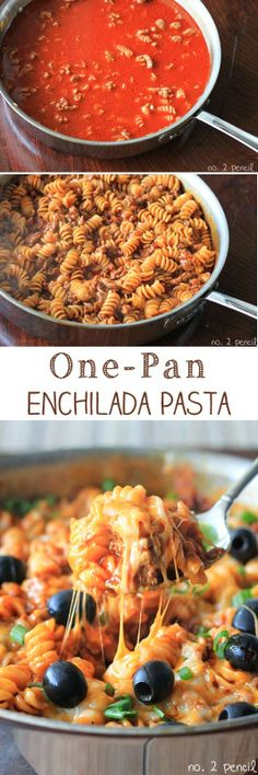 One-Pan Enchilada Pasta - looks yummy, but I'm leaving off the olives!