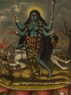 Tantrik Painting of Ma Kali United with Sadhaka while Standing on Shiva