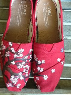 Custom hand painted TOMS cherry blossom nest by solereflections, $60.00. I want these!