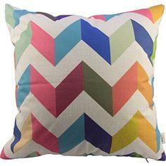 "HOSL® Cotton Linen Throw Pillow Case Decorative Cushion Cover Pillowcase Colorful Zig Zag Chevron Fade Zigzag Stripes Wave Square 18"""
