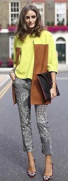 Olivia Palermo: spring yellow + tan + print clash + portfolio clutch