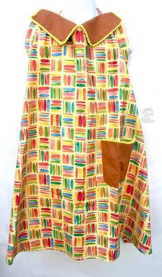 Kitchen Aprons Two Styles Decorative Collar Or Pink Vertical Stripes Pockets One Size fits Most Free USA Shipping Kitchen aprons with ties in back.  Two styles. Use the drop down box to select your favorite.  Festive, vibrant fabric designs and colors. The collared apron has one pocket. The pink vertical striped apron has two pockets. A generous fit. One size fits most. Measures approximately 31  X 26 . .  Easy care fabrics. Machine wash in warm to cool water. (Cool water prevents fading)…