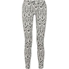 Sass & bide The Roll Over ikat-print skinny jeans ($300) ❤ liked on Polyvore