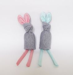 Bunny RATTLE Grey with pink/mint polkadots by nogaravin on Etsy