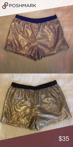"""LAST CHANCE! Zara Sparkly Shorts Fun and dressy gold embellished Shorts. Has an elastic waistband. 2"""" inseam. Excellent condition Zara Shorts"""