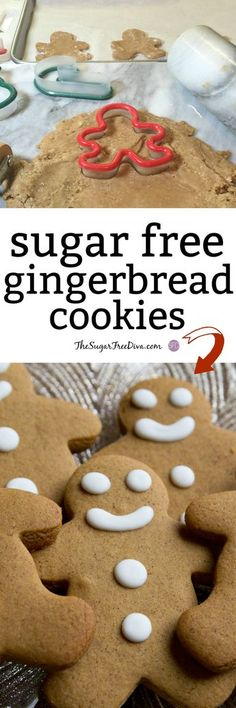 This is the Recipe for Yummy Sugar Free Gingerbread Cookies that can be used to make into cookies or even for a gingerbread house. Sugar Free Deserts, Sugar Free Sweets, Sugar Free Cookies, Sugar Free Recipes, Diabetic Cookies, Diabetic Desserts, Diabetic Recipes, Diabetic Foods, Diabetic Cake