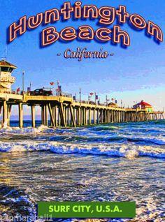 Huntington-Beach-Pier-Surf-California-United-States-Travel-Advertisement-Poster