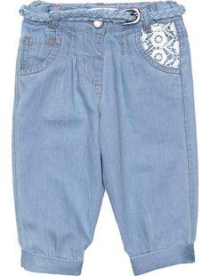 Pantalon chino + ceinture tressée Bébé fille - Kiabi - 12,99€