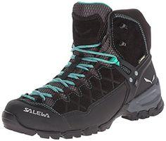 Salewa Womens Alp Trainer Mid GTX Boots Black Out  Agata 85  ETip Glove Bundle * Visit the image link more details.
