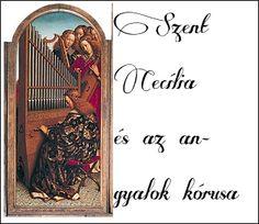 Genti oltár: Szent Cecília, az egyházi zene védőszentje és az éneklő angyalok kórusa