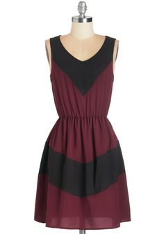 Afternoon of Architecture Dress in Burgundy. A walking tour of the city is perfect for the design buff in you, and wearing this colorblocked A-line - available for purchase in November - awakens your inner architect even more! modcloth