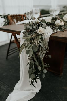 Table runners wedding - A Stunning Wedding Weekend in Jamaica – Table runners wedding Anemone Wedding, Wedding Table Flowers, Wedding Colors, Wedding Bouquets, Wedding Table Runners, Flower Runner Wedding, Purple Bouquets, Greenery For Wedding, Rustic Wedding Tables