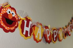 Elmo Red Yellow and Orange Happy Birthday Banner by PaisleyGreer, $30.00