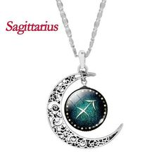 Silver Crescent Moon Necklace with Zodiac Glass Cabochon Choker