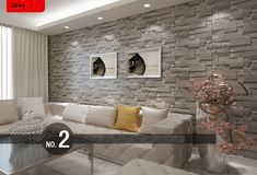 brick effect wallpaper living room - Google Search