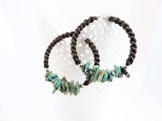 .: Characterisctics:. Hoops are made of surgical steel , wrapped 0.9 brown nylon cord and 5-8mm African Turquoise stones. Diameter of these hoops included wrapped nylon cord are 3.7 cm, Hoops lenght with stones: around 4 cm. Shape and composition of stones randomly selected. May