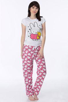 Baskılı Bayan Pijama Takımı Beyaz   Rays Giyim