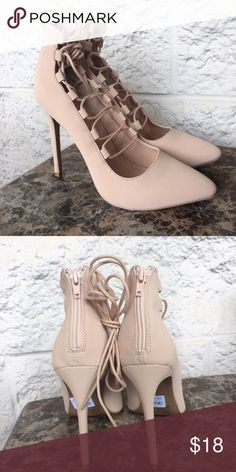 Size 9 Nude lace up heels Size 9 nude heels New with tags. Super comfy and chic ✨💕👡 Shoes Heels