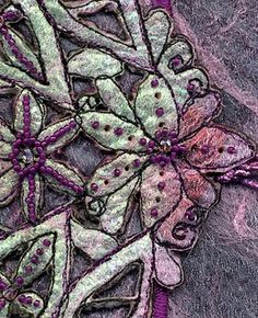 Embellishing machine art (detail): add beads, buttons, etc after embroidery Embroidery Needles, Free Machine Embroidery, Hand Embroidery Designs, Nuno Felting, Needle Felting, Mauve, Learning To Embroider, Creative Textiles, Felting Tutorials