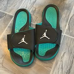 7ebbb5788ae8 Air Jordan slides Men s blue and teal air Jordan slides. I wore as a girl  and wear size 9 to in women s and these fit me perfect. These are size Great  ...