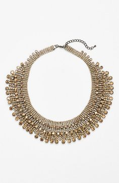 $85, Gold Necklace: Cara Tiered Collar Necklace. Sold by Nordstrom. Click for more info: https://lookastic.com/women/shop_items/134025/redirect