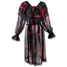 Pre-owned Yves Saint Laurent Red & Black Moon Print Ruffle Peasant... ($1,895) ❤ liked on Polyvore featuring dresses, red, flutter sleeve dress, layered dress, print dress, pattern dress and frilly dresses