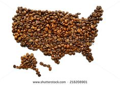 Map of the USA made from coffee beans