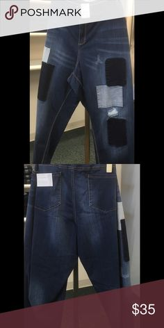 Patchwork  jeans size 28W🌺🌺🌺🌺 make me an offer What a cool style to be rocking in these patchwork dark wash denim jeans add a cool sweater and a pair of boots and you are ready to go. This is so soft stretch allows them to stay in place and carve your body the way jeans are supposed to. Fuller through the hip and thighs Jeans