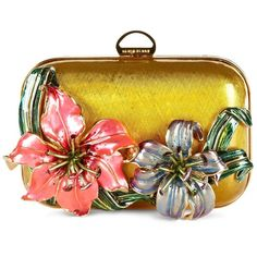 Sergio Rossi Brass Clutch with Flower Detail ($1,089) found on Polyvore