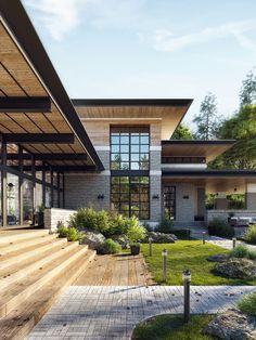 Flat Roof House Designs, Flat Roof Design, Clean Design, Design Exterior, Modern Exterior, Contemporary House Plans, Modern House Design, Modern Zen House, Minimalist Architecture