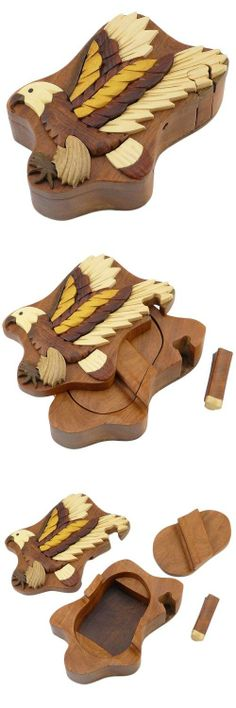 Eagle Handmade Carved Wood Intarsia Puzzle Box, You'll find these decorative handmade wooden puzzle boxes to be a thoughtful gift and perfect for collectors. They come in a wide variety of themes for nearly any occasion. Try choosing several contra..., #Home & Garden, #Decorative Boxes