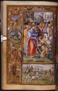 Miniature of the Raising of Lazarus and a scene of the Three Living and the Three Dead, from the Stuart de Rothesay Hours, Italy (Padua? And Perugia), c. 1508 – c. 1538, Add MS 20927, f. 119v