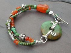 Turquoise Carnelian Czech with Sterling by hummingbirdcreation, $65.00