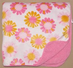Carters Just One You White Velour Pink Sherpa Orange Flowers Baby Blanket Target #JustOneYou