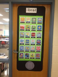 Technology and learning look pretty good together. iPhone Classroom Door Decoration - http://bigdiyideas.com
