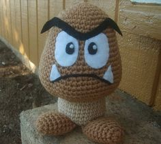 Goomba wasn't quite as easy as the mushrooms and Luma but still a one night project and came out GREAT!  I even crocheted his eyes, brows and teeth instead of using felt.