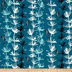 Tides Sea Horse Blue from @fabricdotcom  Designed by Jane Dixon for Andover, this cotton print is perfect for quilting, apparel and home décor accents. Colors include shades of teal, white and black.