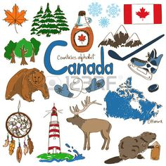 Fun colorful sketch collection of Canada icons countries alphabet Stock Vector