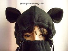 Monkey hat - fleece hat - winter hat - balaclava w strings - selection of animal ears: monkey, cub, bunny and cat.  http://www.catherinebellaire.ca/store/c1/Featured_Products.html  https://www.etsy.com/shop/sewingmemere  Created by CatherineBellaire Canadian Dressmaker & Designer $45.00