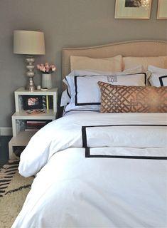 Erin Gates Design - bedrooms - Benjamin Moore - San Antonio Gray - Crate & Barrel Colette Bed, Kelly Wearstler Ombre Maze Shell, West Elm Souk Wool