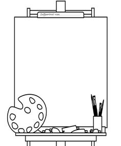 Easel and blank canvas. would be a cute cover for an art folder. You can fill it with how to draw different things &/or the coloring pages of famous works of art. Art Handouts, Art Worksheets, Art Folder, Art Party, Elements Of Art, Art Classroom, Art Plastique, Elementary Art, Colouring Pages