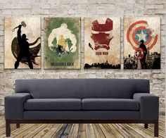 New Full Set of 4 Avengers Abstract Art Panels; Thor, Captain America, Hulk, and #ArtNouveau