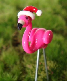 Tiny Christmas Pink Lawn Flamingo with Santa Hat