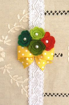 Felt flower quartet headband, Very hungry caterpillar inspired headband, baby girl, toddler, adult headband