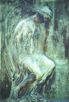Green angel.  Recoleta Cemetery Buenos Aires Argentina