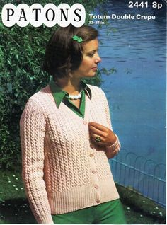 womens cardigan knitting pattern pdf DK ladies lacy v neck jacket Vintage 70s 32-38 inch DK light worsted 8ply Instant Download by coutureknitcrochet on Etsy