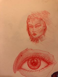 Eye and face in red pencil Red Pencil, Sketchbook Pages, Watercolor Tattoo, The Past, Sketches, Eye, Drawings, Doodles, Drawing