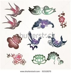Traditional Chinese lucky symbols: Lovebirds, Mandarin ducks(Loyal love); Bat(Lucky); Plum flower(Good fortune); Goldfish(Abundant); Magpie(Happiness); Carp(Bright prospect); Lotus(Harmony) by francophoto, via Shutterstock